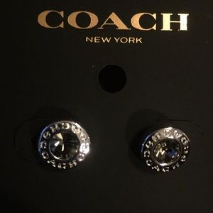 COACH OPEN CIRCLE STONE STRAND STUD EARRINGS (NWT)